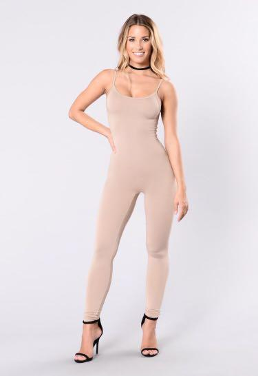 Ladies Fashion Nova Tan Nude Jumpsuit Size Small