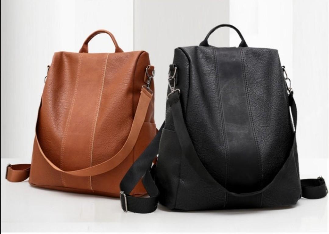 44034f6200 Retro Leather Backpack Handbag Sling Bag Black Brown Women Lady Girl ...