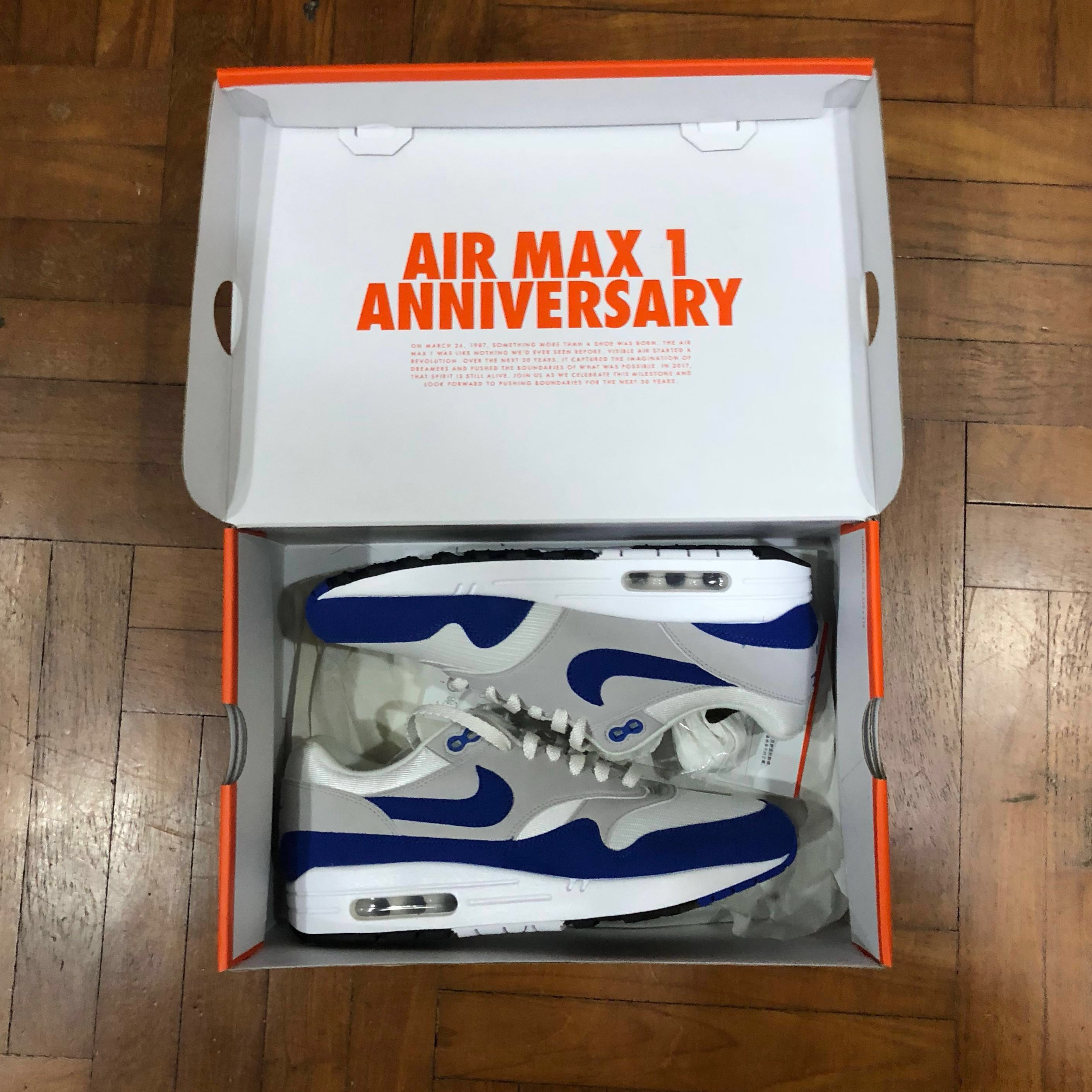 san francisco edb14 d078f Nike Airmax 1 OG Anniversary Royal Blue, Men s Fashion, Footwear, Sneakers  on Carousell