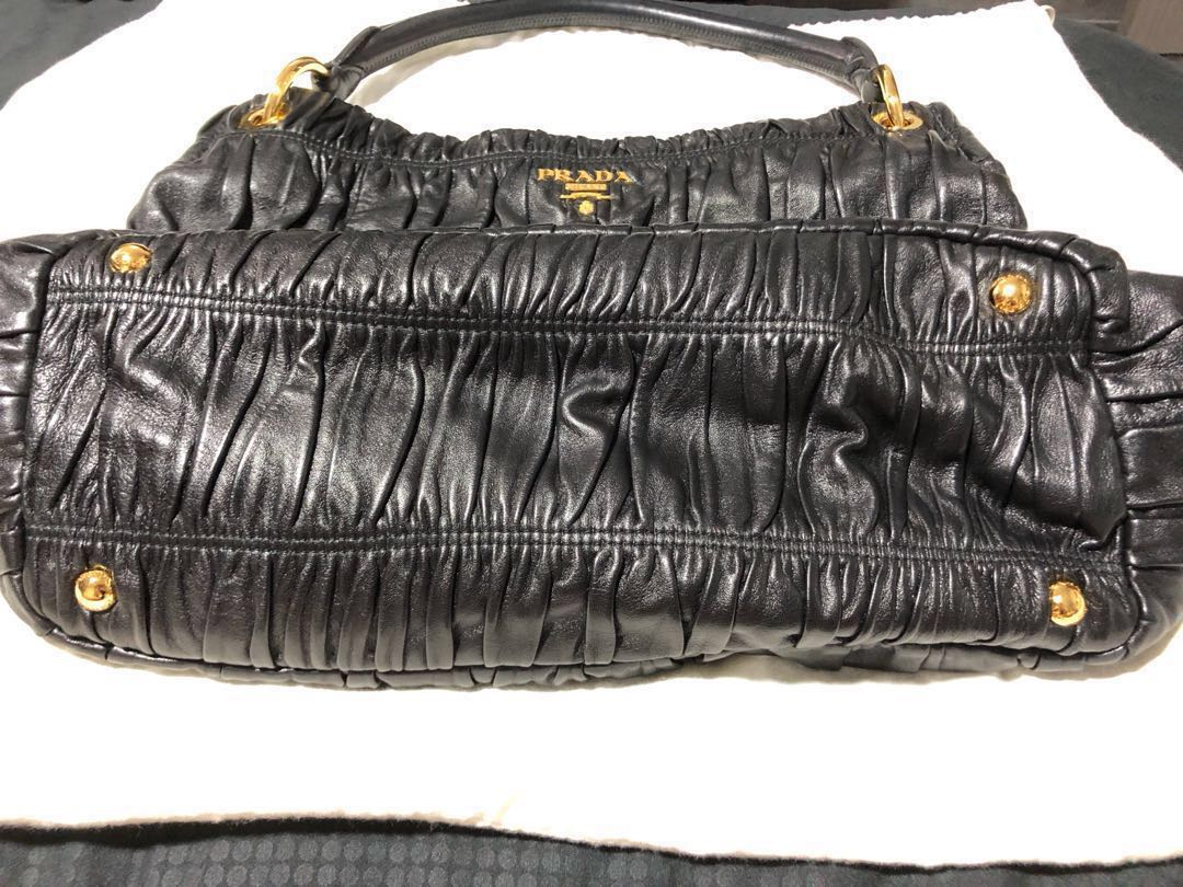 f30d88cdb1d993 Prada Nappa Gaufre Hobo Black Bag, Luxury, Bags & Wallets, Handbags on  Carousell
