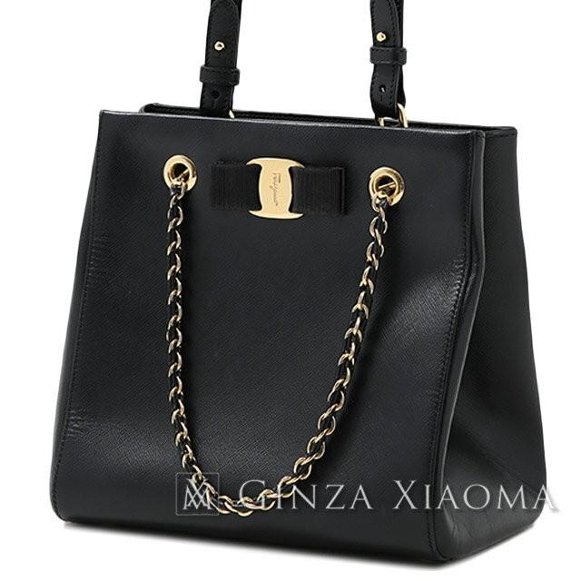 a9f13a9d7621 Salvatore Ferragamo Vala Ribbon 2 Way Chain bag Leather black shoulder bag  diagonal hanging 169561