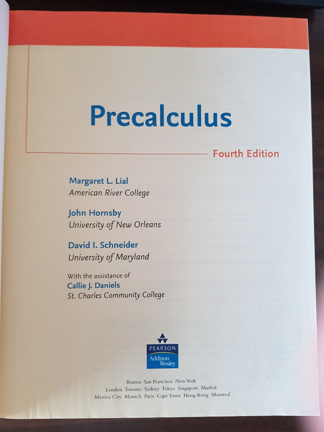 Precalculus 4th edition by Lial, Hornsby and Schneider