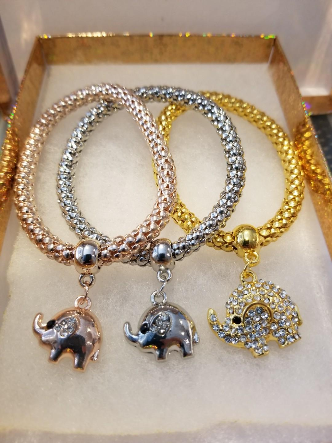 Rose gold, silver and gold elephant bracelets