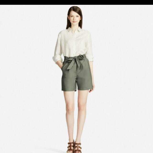 9642838f63 Uniqlo Women's High Rise Belted Shorts In Army Green, Women's ...