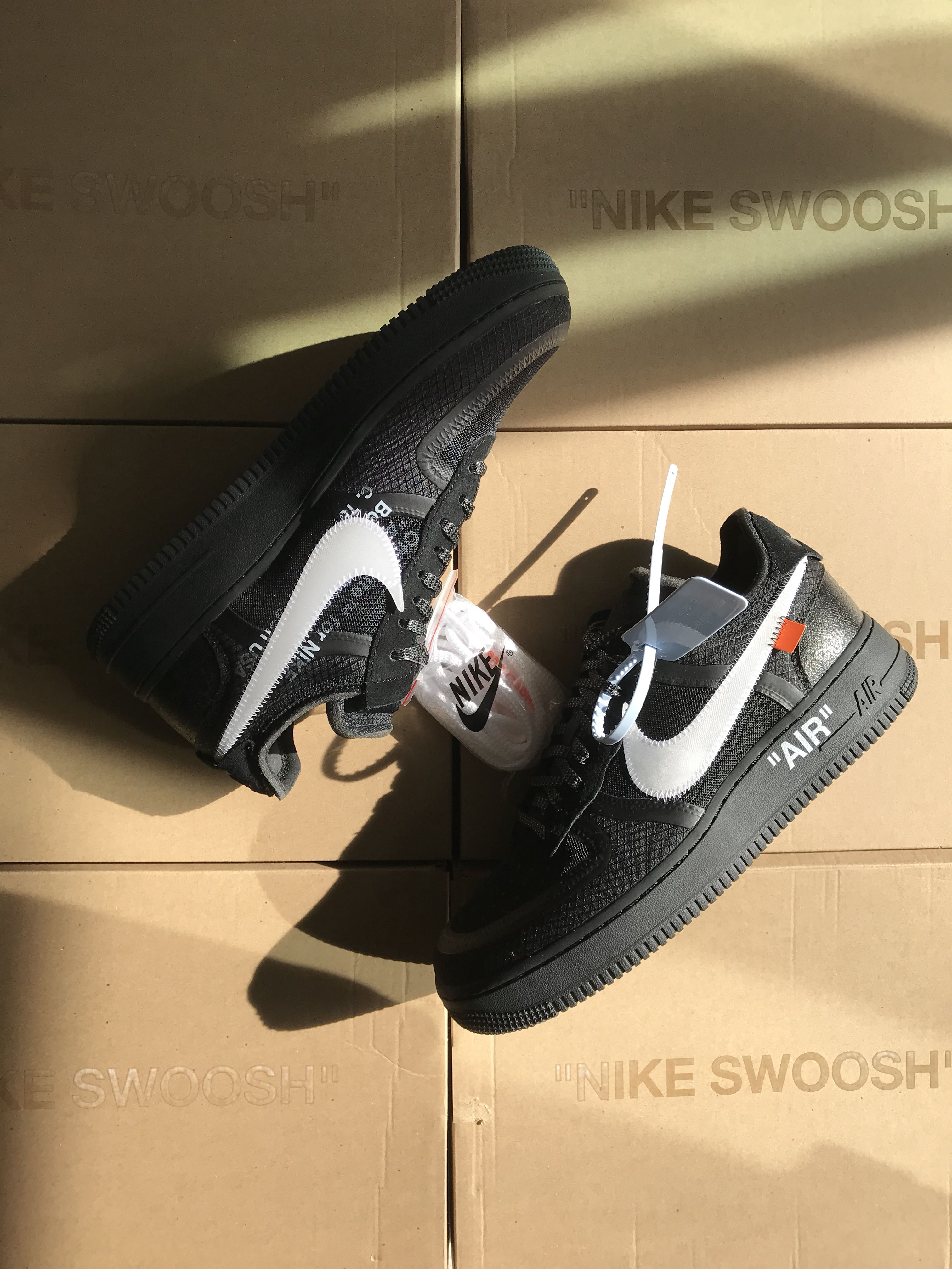 "5f612cb8d52 US 8 and US 8.5 Off White Nike Air Force 1 ""Black"""