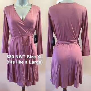 NWT Lulu's Mauve Pink Wrap Dress