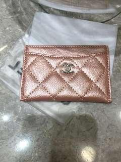 Chanel rose gold quilted caviar card holder