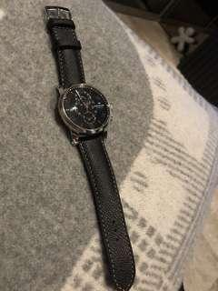 43mm Mont Blanc Twinfly Timewalker Watch Steel and Leather Strap