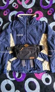 columbia jacket & pouch bag..