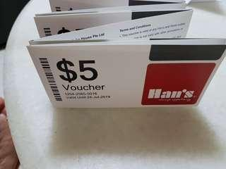 $50 Han's vouchers at Eastpoint mall ( no min purchase) expire 24 jul 19