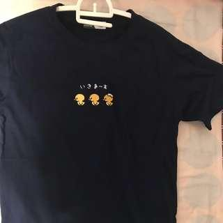 🚚 Korean Ulzzang Duckling Navy Shirt
