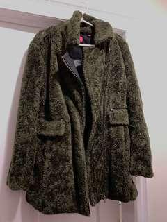 Women's Olive Green Sherpa Coat