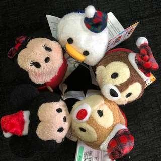 PO Hong Kong Disneyland mickey minnie chip dale and Donald Christmas Tsum Tsum plush