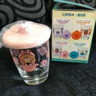 Instock line friends cony glass with cover