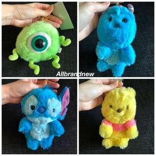 Japan Disney furry plush keychain Pooh, stitch, sulley And mike and more characters