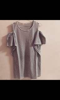 🚚 灰白條紋洋裝