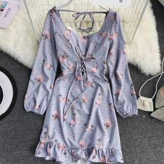 🚚 Pre-Order/ French girl romantic pink floral palace square collar long sleeve waist tie hip ruffle dress 2019