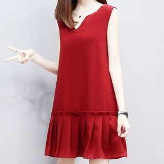 🚚 CNY 2019/ women's vest skirt chiffon dress pleated skirt
