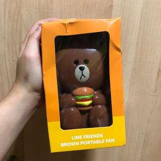 line bear brown handheld portable fan