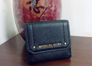 全新 美國購入 MK Michael Kors 牛皮 真皮 短夾 零錢袋 黑色