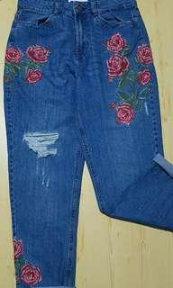 Floral Embroided Jeans
