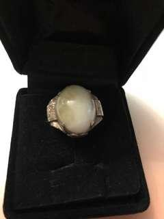 Antique white stone sterling silver ring