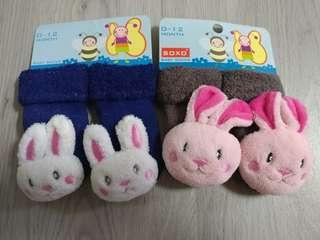 🚚 BN Baby Rattle Socks - baby bunny SET A - 2 pairs @ $1 only!!!