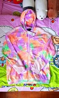 Adidas x Pharrell Multicolour Dye Windbreaker Hoodie.