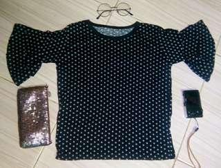 Black & Gray Polka Top