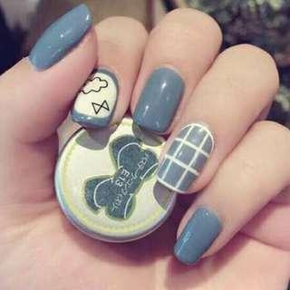 Cloudy Blue Fake Nails Kuku Palsu