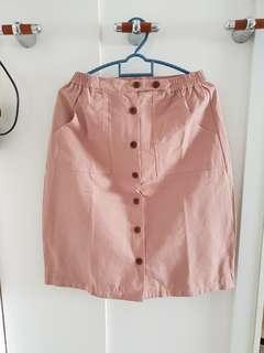 Dusty Pink buttoned down Skirt