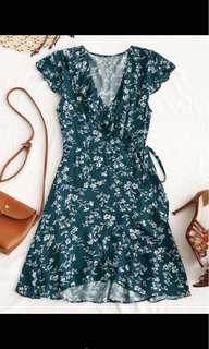 Zaful Blue Ruffle Wrap Dress