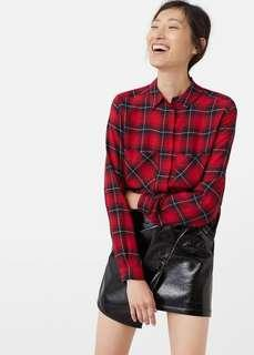 Authentic preloved Mango Plaid checkered red flannel