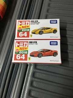 日版 Tomica 64 Ferrari 488 GTB 法拉利 一對 盒靚