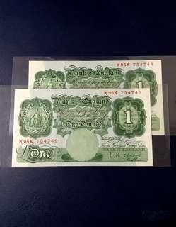 🇬🇧 1955 Great Britain Bank Of England 1 Pound Banknote~2pcs Consecutive Number Pair
