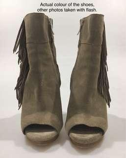 BCB Generation Suede open toed boots with statement frills