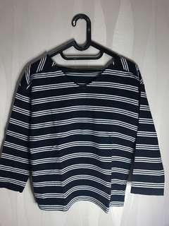 blouse garis garis uniqlo