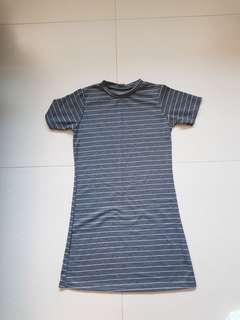 Grey with white stripes dress