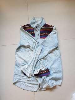 Denim tribal outerwear