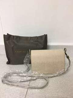 🚚 Charles and Keith Nude Sling bag (Size S)