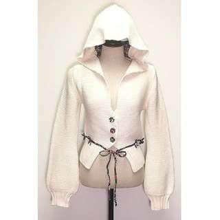 Catherine Malandrino Wool Blend Hood Knit Woman Cardigan Princess French Designer Size 4 Small 法國 羊毛 帽 針織 開胸 女裝 外套