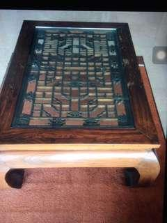 'Chinese' wooden coffee table w glass top