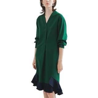 Flutter Hem Emerald Green Colour Block Shirt Dress