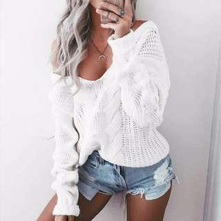 V-Neck Off Shoulder Sweater (White)