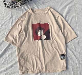 杏色原宿t恤