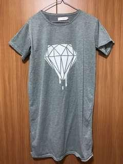 Grey diamond shift cotton dress