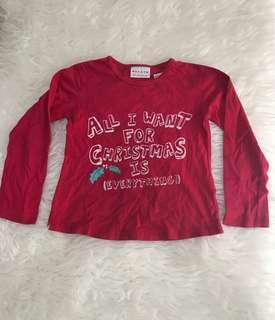 NEXT red Christmas shirt merah