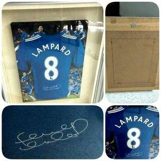 #XMAS50 Chelsea FC Frank Lampard 2009/2010 Jersey Canvas Print Signed Framed