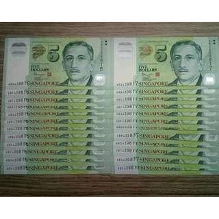 💱Y.E.S.-6---UNC 12pcsx2Runsx$5 PORTRAIT IDENTICAL NUMBERS SET💱