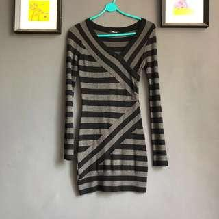 Striped body hugging dress
